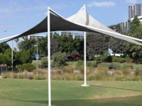 Skyspan Umbrellas - Four Post Square Non-Retractable Hypar Umbrellas