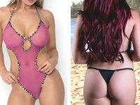 sunbabe Swimwear - Mesh Keyhole V String One Piece