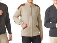 Aklanda Australia – Merino Patch Zip Cardigan with Suede