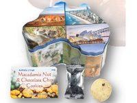 Koala Farms – Item No. 2132 – Macadamia Nuts & Choc Chip Cookies - Australia Map Souvenir Tin