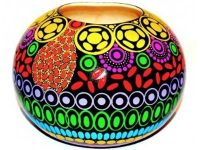 Australian Mallee Art – Hand Painted Ball Vase 1 by J. Lynch