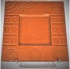Australian Mallee Art – Square Drop Painted Glass Platter 1 – Raining on a Waterhole