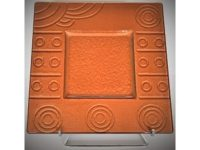 Australian Mallee Art – Square Drop Painted Glass Platter 1 - Raining on a Waterhole