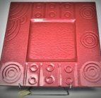Australian Mallee Art – Square Drop Painted Glass Platter 2 – Raining on a Waterhole