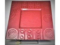 Australian Mallee Art – Square Drop Painted Glass Platter 2 - Raining on a Waterhole