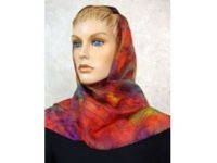 Australian Mallee Art – Long Silk Scarf - An Australian Gum Leaves Design 1