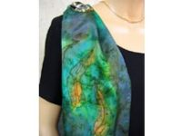 Australian Mallee Art – Long Silk Scarf - An Australian Gum Leaves Design 3