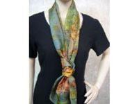 Australian Mallee Art – Long Silk Scarf - An Australian Kangaroo Design 1