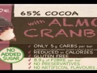 Praline Holdings Pty Ltd  – (Nature's Tribe) Almond & Cranberry Sugar Free Dark Chocolate 38 g Bar