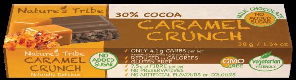 Praline Holdings Pty Ltd  – (Nature's Tribe) Caramel Crunch No Added Sugar Milk Chocolate 38 g Bar