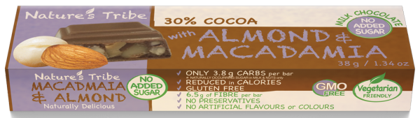 Praline Holdings Pty Ltd  – (Nature's Tribe) Macadamia & Almond No Added Sugar Milk Chocolate 38 g Bar