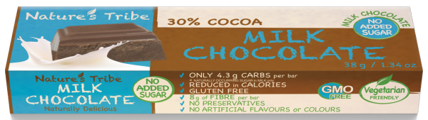 Praline Holdings Pty Ltd  – (Nature's Tribe) No Added Sugar Milk Chocolate 38 g Bar