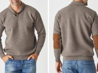 Aklanda Australia – Blister Jacquard Shawl Collar Sweater